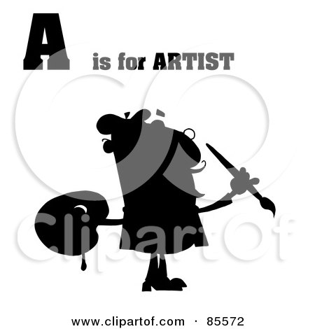 Royalty-Free (RF) Clipart Illustration of a Silhouetted Male Artist With A Is For Artist Text by Hit Toon