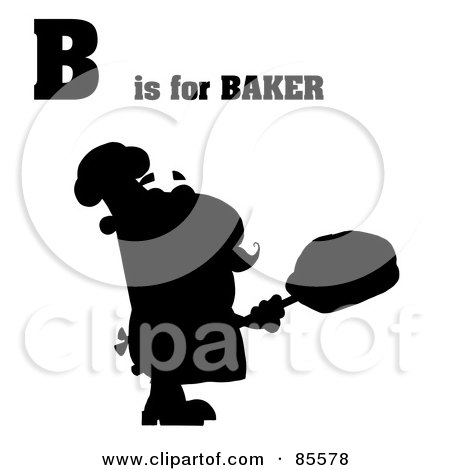 Royalty-Free (RF) Clipart Illustration of a Silhouetted Male Baker With B Is For Baker Text by Hit Toon