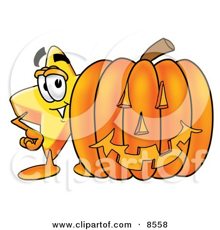 Clipart Picture of a Star Mascot Cartoon Character With a Carved Halloween Pumpkin by Toons4Biz