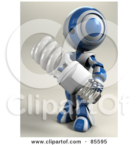 Royalty-Free (RF) Clipart Illustration of a 3d AO-Maru Robot Holding A Spiral Electric Light Bulb by Leo Blanchette