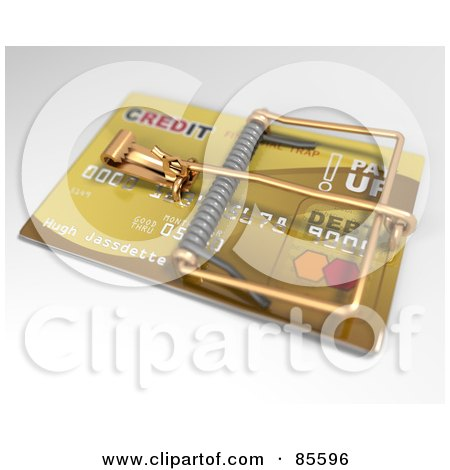 Angled View Of A 3d Golden Credit Card Trap Posters, Art Prints