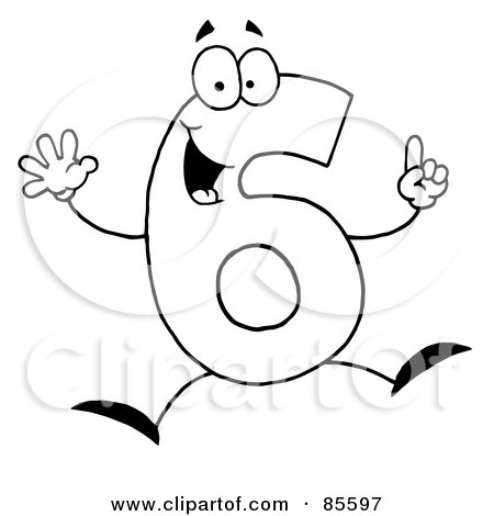Royalty Free RF Clipart Illustration Of A Friendly Outlined Number 6 Six Guy