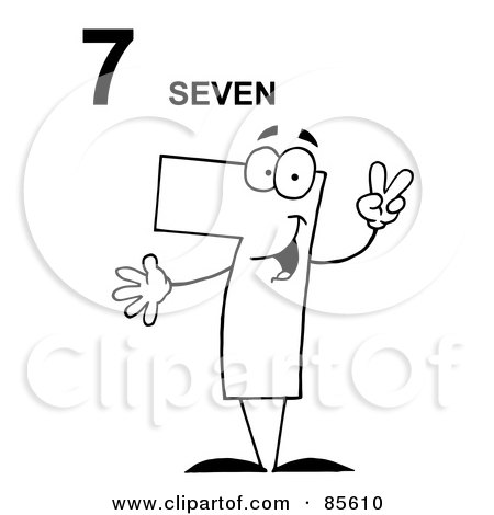 Royalty-Free (RF) Clipart Illustration of a Friendly Outlined Number 7 Seven Guy With Text by Hit Toon