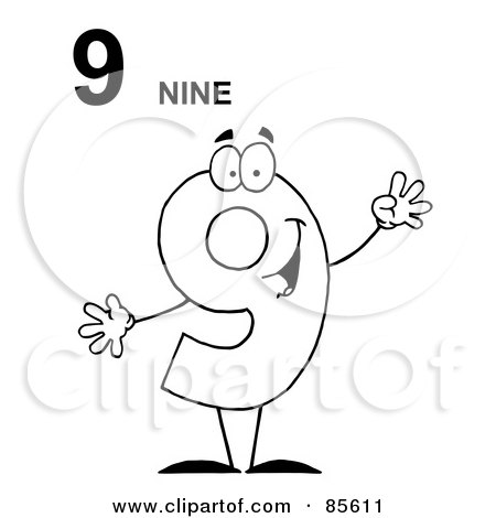 Royalty-Free (RF) Clipart Illustration of a Friendly Outlined Number 9 Nine Guy With Text by Hit Toon