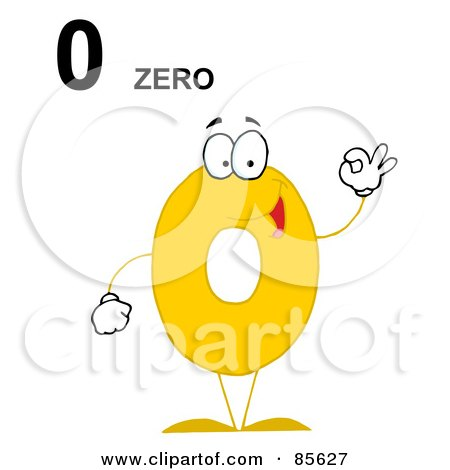 Royalty-Free (RF) Clipart Illustration of a Friendly Number 0 Zero Guy With Text by Hit Toon
