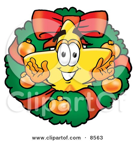 Star Mascot Cartoon Character in the Center of a Christmas Wreath Posters, Art Prints