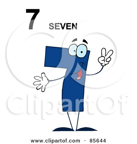 Royalty-Free (RF) Clipart Illustration of a Friendly Blue Number 7 Seven Guy With Text by Hit Toon