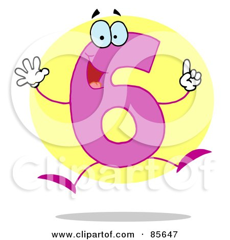 Royalty-Free (RF) Clipart Illustration of a Friendly Number 6 Six Guy by Hit Toon