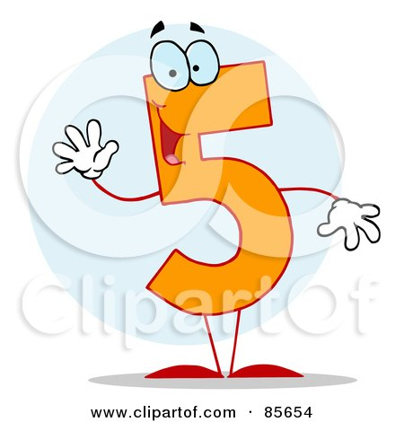 Clipart Happy Orange Number 5 - Royalty Free Vector Illustration by