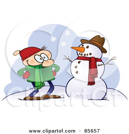 Royalty-Free (RF) Clipart Illustration of a Toon Guy Standing Proudly By His Completed Snowman by gnurf