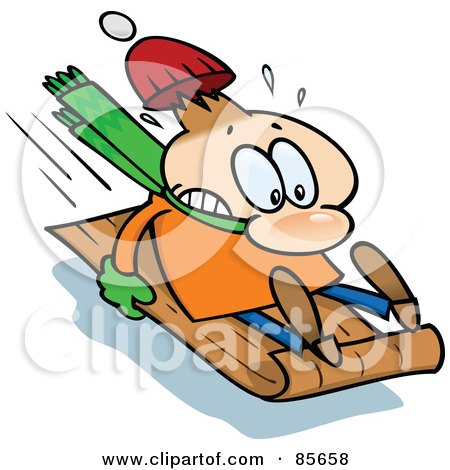 Royalty-Free (RF) Clipart Illustration of a Toon Guy Holding On Tight To A Toboggan While Sledding Downhill by gnurf