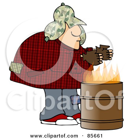 Royalty-Free (RF) Clipart Illustration of a Homeless Man Warming His Hands Over A Trash Can Fire by djart