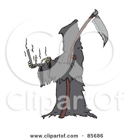 Royalty-Free (RF) Clipart Illustration of The Grim Reaper Holding And Using A Laptop by Spanky Art