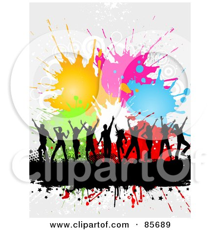 Royalty-Free (RF) Clipart Illustration of a Dancing Black Silhouetted People Over A Text Bar With Halftone And Colorful Splatters by KJ Pargeter