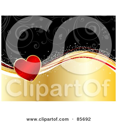 Royalty-Free (RF) Clipart Illustration of a Red Floral Heart On Sparkly Waves Over A Gold And Black Background by KJ Pargeter