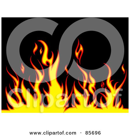 Royalty-Free (RF) Clipart Illustration of a Background Of Yellow And Red Flames Over Black by KJ Pargeter