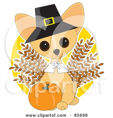 Royalty-Free (RF) Clipart Illustration of an Adorable Thanksgiving Chihuahua Puppy by Maria Bell
