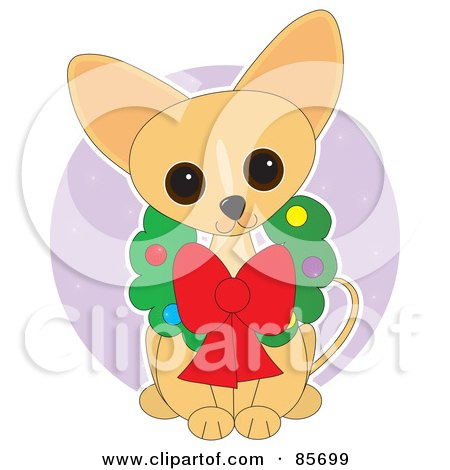 Royalty-Free (RF) Clipart Illustration of an Adorable Christmas Wreath Chihuahua Puppy by Maria Bell
