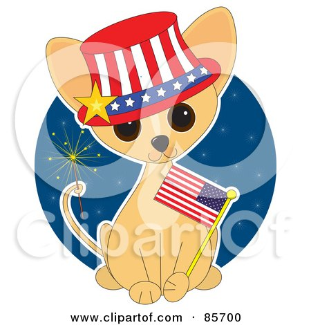 Royalty-Free (RF) Clipart Illustration of an Adorable Independence Day Chihuahua Puppy by Maria Bell