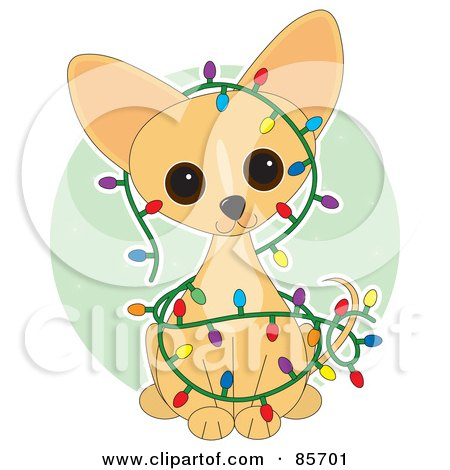 Royalty-Free (RF) Clipart Illustration of an Adorable Christmas Chihuahua Puppy by Maria Bell