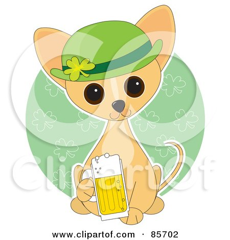 Royalty-Free (RF) Clipart Illustration of an Adorable St Patrick's Day Chihuahua Puppy by Maria Bell