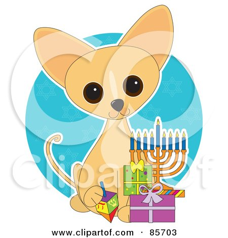 Royalty-Free (RF) Clipart Illustration of an Adorable Hanukkah Chihuahua Puppy by Maria Bell