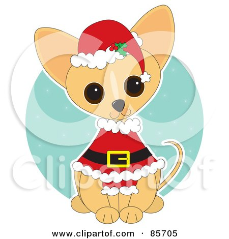 Royalty-Free (RF) Clipart Illustration of an Adorable Santa Chihuahua Puppy by Maria Bell