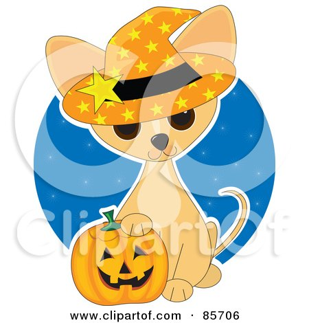 Royalty-Free (RF) Clipart Illustration of an Adorable Halloween Chihuahua Puppy by Maria Bell