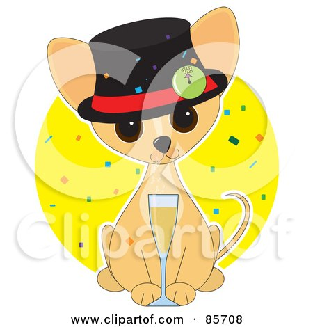 Royalty-Free (RF) Clipart Illustration of an Adorable New Year Chihuahua Puppy by Maria Bell