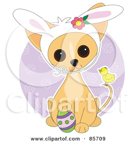 Royalty-Free (RF) Clipart Illustration of an Adorable Easter Chihuahua Puppy by Maria Bell