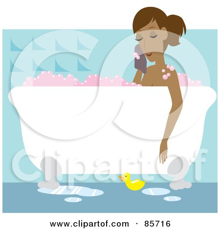 Royalty-Free (RF) Clipart Illustration of a Relaxed Hispanic Woman Taking A Luxurious Bubble Bath In A Claw Foot Tub by Rosie Piter