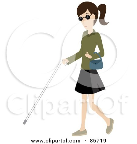 Brunette Caucasian Blind Woman Walking With A White Cane Posters, Art Prints