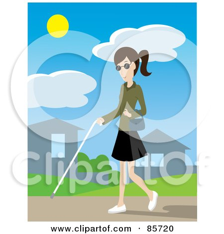 Royalty-Free (RF) Clipart Illustration of a Blind Caucasian Woman Walking Through A Neighborhood With A White Cane by Rosie Piter
