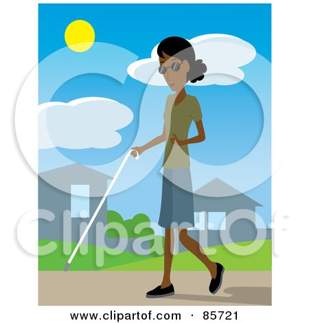 Royalty-Free (RF) Clipart Illustration of a Blind Black Woman Walking Through A Neighborhood With A White Cane by Rosie Piter