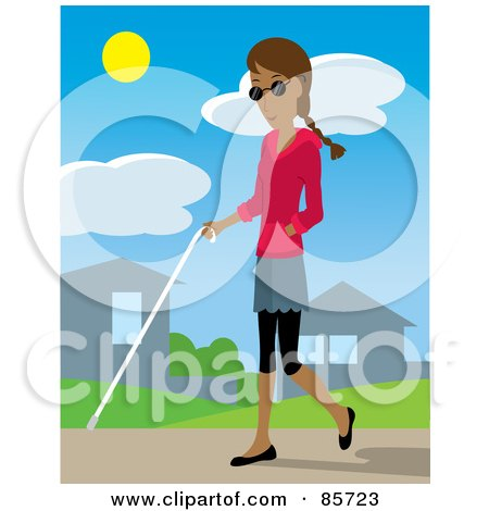 Royalty-Free (RF) Clipart Illustration of a Blind Hispanic Woman Walking Through A Neighborhood With A White Cane by Rosie Piter