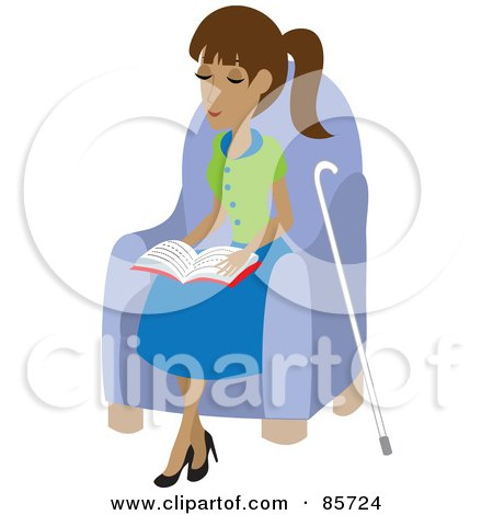 Royalty-Free (RF) Clipart Illustration of a Blind Hispanic Woman Sitting In A Chair And Reading Braille, Her Cane At Her Side by Rosie Piter