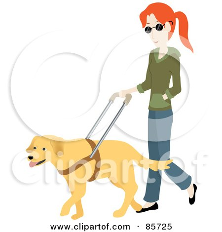 Royalty-Free (RF) Clipart Illustration of a Blind Caucasian Woman Walking With A Yellow Labrador Guide Dog by Rosie Piter