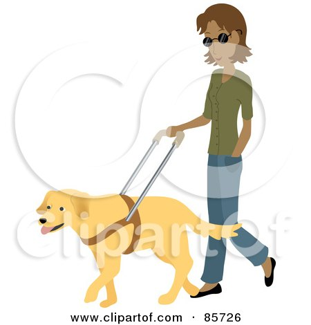 Royalty-Free (RF) Clipart Illustration of a Blind Hispanic Woman Walking With A Yellow Labrador Guide Dog by Rosie Piter