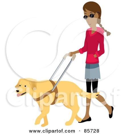 Royalty-Free (RF) Clipart Illustration of a Blind Indian Woman Walking With A Yellow Labrador Guide Dog by Rosie Piter
