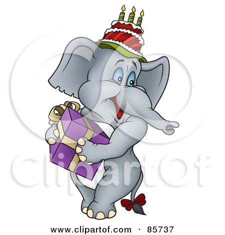 Royalty-Free (RF) Clipart Illustration of a Gray Birthday Elephant Wearing A Cake On His Head And Carrying A Gift by dero