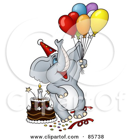 Royalty-Free (RF) Clipart Illustration of a Gray Birthday Elephant With Balloons, A Hat And Cake At A Party by dero