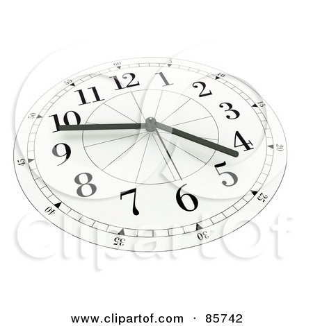 Royalty-Free (RF) Clipart Illustration of a 3d White And Black Wall Clock At Ten Till Five by Mopic