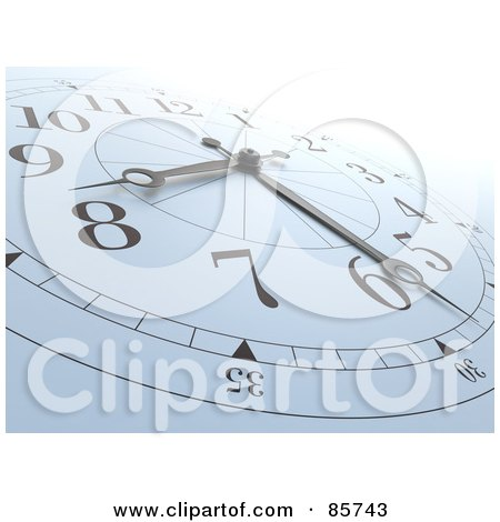 Royalty-Free (RF) Clipart Illustration of a 3d White And Black Wall Clock At Nearly 8:30 by Mopic