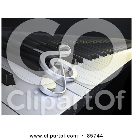 Royalty-Free (RF) Clipart Illustration of a 3d Clef Resting On Piano Keys by Mopic