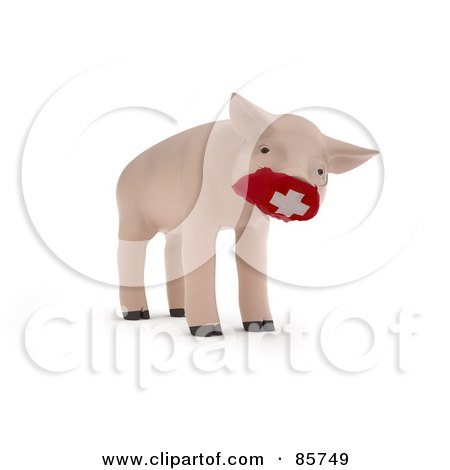 Royalty-Free (RF) Clipart Illustration of a 3d Piglet Wearing A Red Medical Mask Over His Snout by Mopic