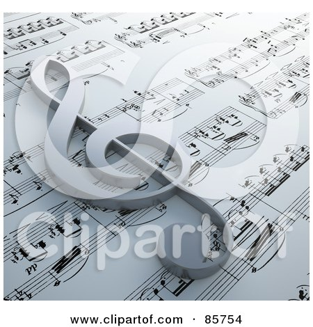 Royalty-Free (RF) Clipart Illustration of a 3d Clef Symbol Resting On Claude Debussy - Danse Sheet Music by Mopic