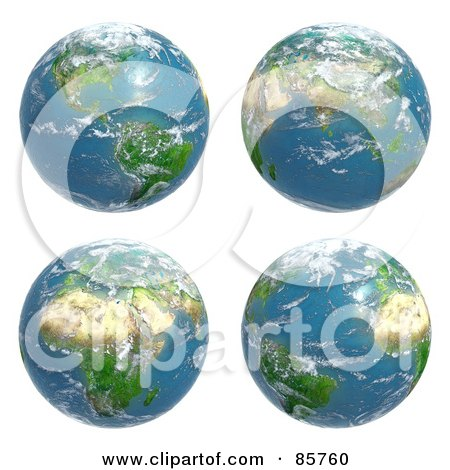 Royalty-Free (RF) Clip Art Illustration of a Digital Collage Of Four Cloudy Earth Views by Mopic