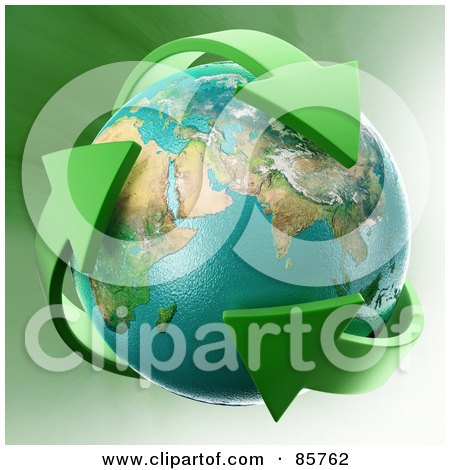 Royalty-Free (RF) Clipart Illustration of a 3d Earth Engulfed In Green Recycle Arrows by Mopic