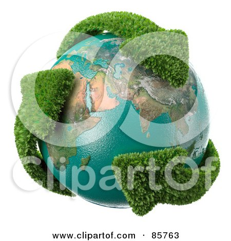 Royalty-Free (RF) Clipart Illustration of a 3d Earth Engulfed In Leafy Recycle Arrows by Mopic