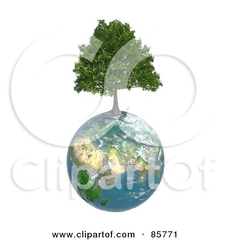 Royalty-Free (RF) Clipart Illustration of a 3d Tree Growing From On Top Of The Earth by Mopic